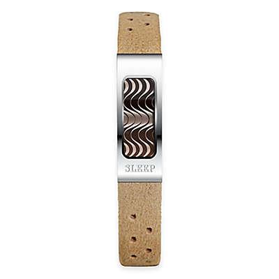 Philip Stein Slim Sleep Bracelet in Stainless Steel with Camel Microfiber Band