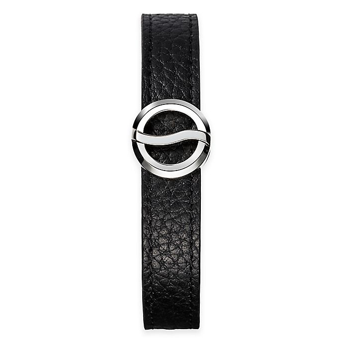 Alternate image 1 for Philip Stein Stainless Steel Horizon Bracelet with Black Leather Strap