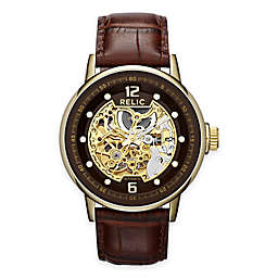 Relic by Fossil Skeleton Men's 43.5mm Automatic Watch in Goldtone with Brown Leather