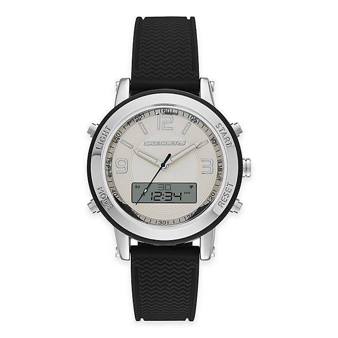Alternate image 1 for Skechers® Ladies' 38mm Analog-Digital Watch in Silver with Black Polyurethane Strap