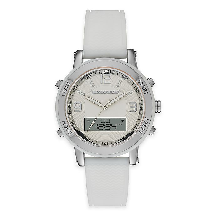 Alternate image 1 for Skechers® Ladies' 38mm Analog-Digital Watch in Silver with White Polyurethane Strap
