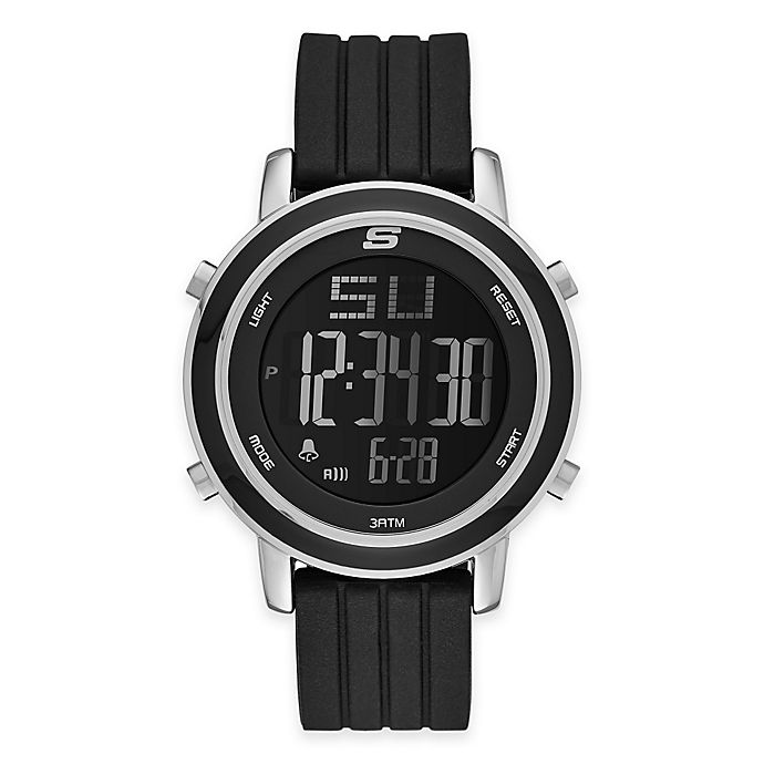 Alternate image 1 for Skechers® Ladies' 40mm Digital Watch in Silvertone with Black Polyurethane Strap