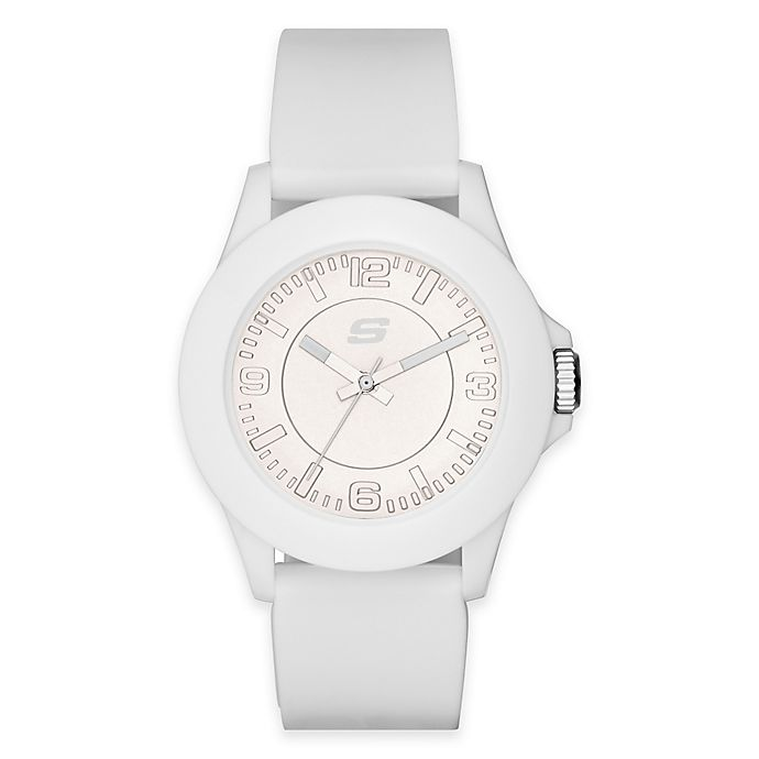 Alternate image 1 for Skechers® Ladies' 41mm Watch in White Plastic with White Polyurethane Strap