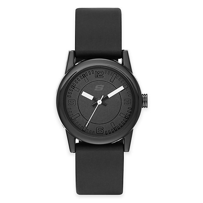 Alternate image 1 for Skechers® Ladies' 30mm Watch in Black Plastic with Black Polyurethane Strap