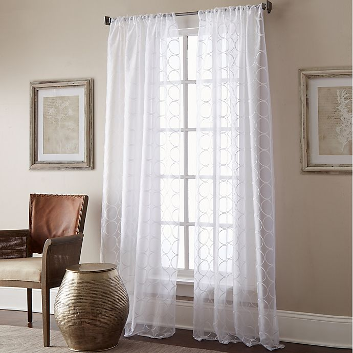 Alternate image 1 for Manhattan Sheer 63-Inch Rod Pocket Window Curtain Panel in White