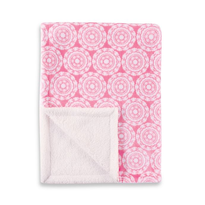 Alternate image 1 for BabyVision® Hudson Baby® Double Layer Medallion Blanket in Pink
