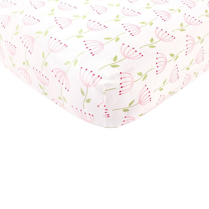 Alternate image 1 for BabyVision® Touched By Nature 100% Organic Knitted Cotton Flower Fitted Crib Sheet
