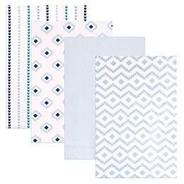 BabyVision® Hudson Baby® 4-Pack Flannel Receiving Blankets in Modern/Blue