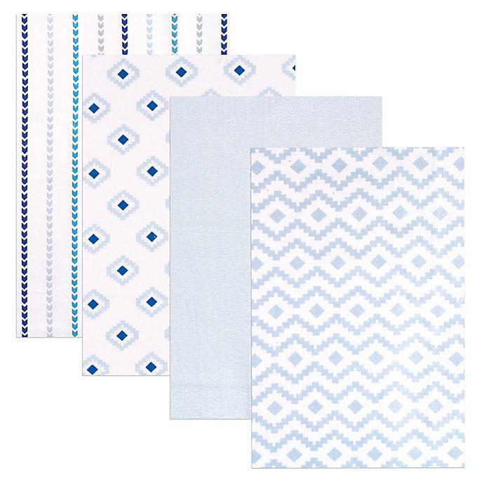 Alternate image 1 for BabyVision® Hudson Baby® 4-Pack Flannel Receiving Blankets in Modern/Blue