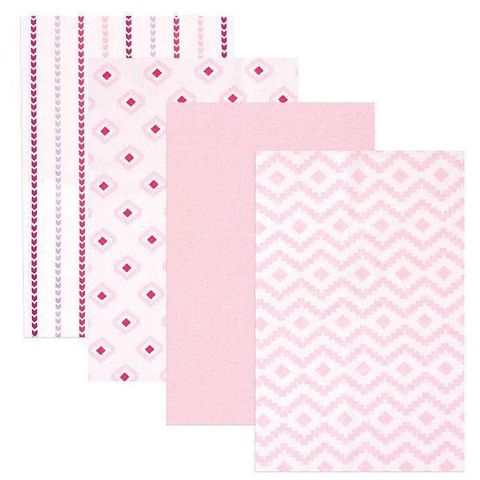 Alternate image 1 for BabyVision® Hudson Baby® 4-Pack Flannel Receiving Blankets in Modern/Pink