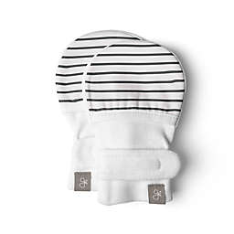 goumi® Organic Cotton Size 0-3M White and Grey Stripe Mitts