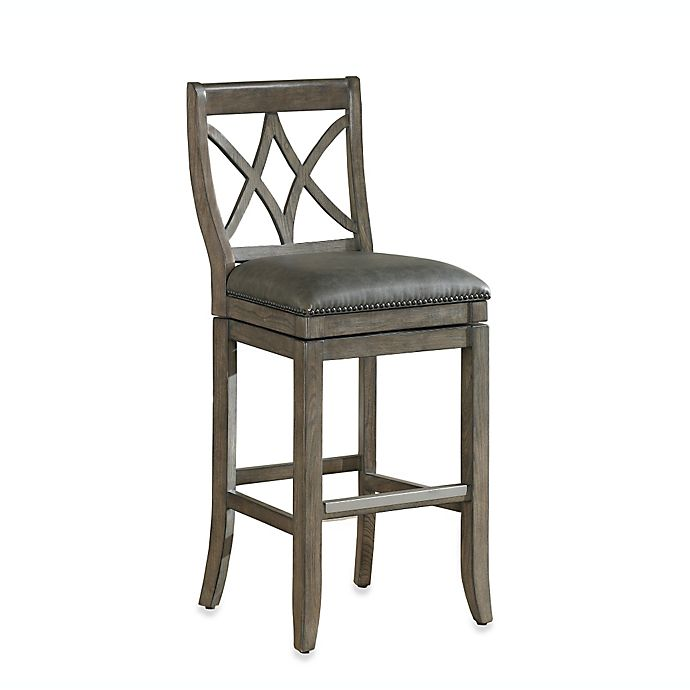 Alternate image 1 for American Heritage Hadley Bar Height Swivel Stool in Light Grey