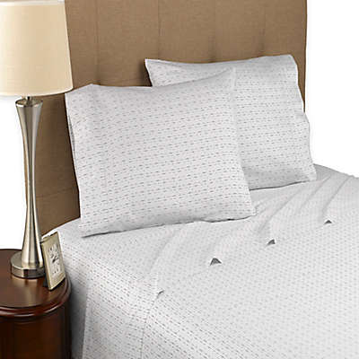 Modern Living Dotted Line 300-Thread-Count Organic Sheet Set in White