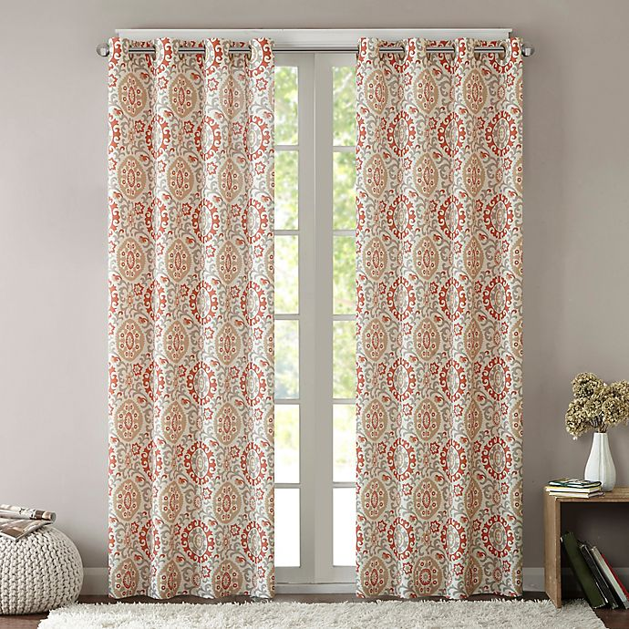 Alternate image 1 for Intelligent Design Seville 63-Inch Grommet Top Window Curtain Panel in Coral