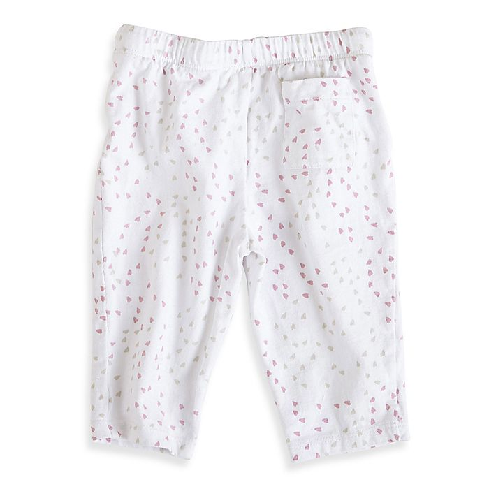 Alternate image 1 for aden + anais® Size 9-12 Lovely Mini-Hearts Jersey Pant in Pink/Grey