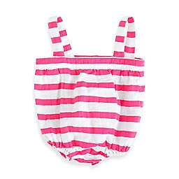 aden + anais® Blazer Stripe Muslin Romper in Shocking Pink/White