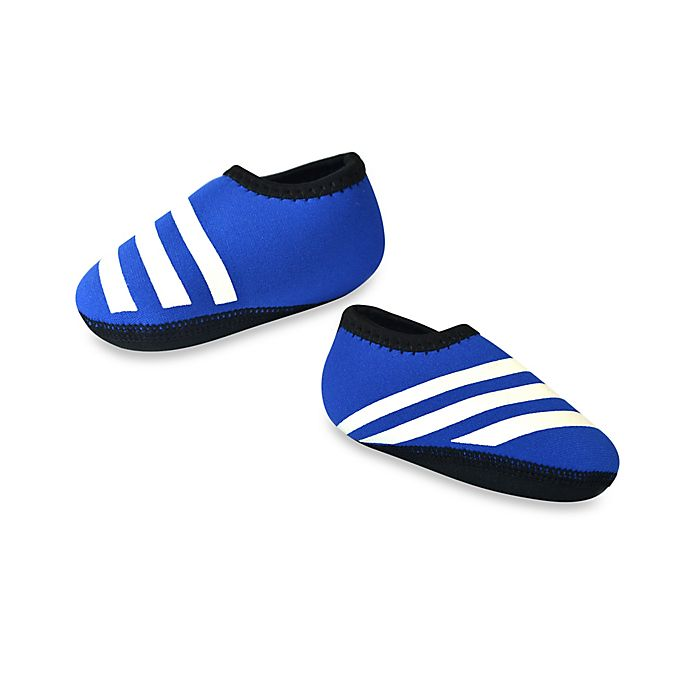Alternate image 1 for nufoot Everyday Striped Slipper in Blue/White