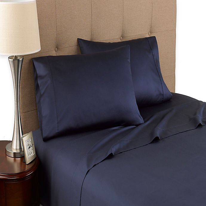 Alternate image 1 for Modern Living 300-Thread-Count Organic Cotton Full Sheet Set in Navy