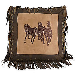 HiEnd Accents Embroidered Running Horse Square Throw Pillow