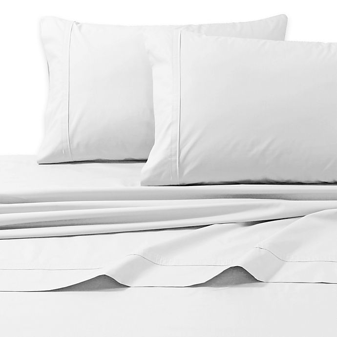 Alternate image 1 for Tribeca Living 300-Thread-Count Premium Cotton Percale Queen Sheet Set in White