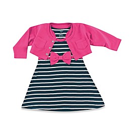 Baby Vision Hudson Baby Cropped Cardigan with Racerback Dress 2-Piece Set in Black/Pink