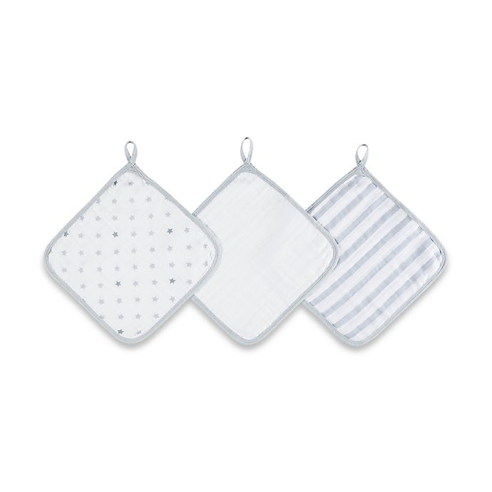 Alternate image 1 for aden® by aden + anais® 3-Pack Washcloth Set in Dove