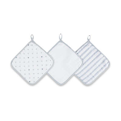 aden® by aden + anais® 3-Pack Washcloth Set in Dove