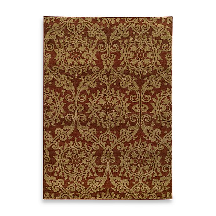 Alternate image 1 for Oriental Weavers Parker Damask 3-Foot 10-Inch x 5-Foot 5-Inch Area Rug in Rust/Gold