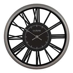 La Crosse Clock Company Oxford 13-Inch Wall Clock in Black/Grey