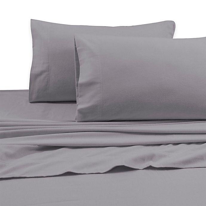 Alternate image 1 for Tribeca Living 170 GSM Solid Flannel Deep Pocket California King Sheet Set in Silver Grey