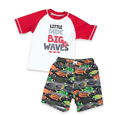 "iXtreme Boys 2-Piece ""Little Dude Big Waves"" Rashguard and Swim Trunk Set in White/Grey"