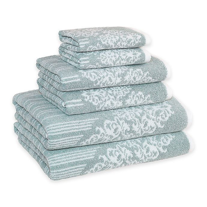 Alternate image 1 for Linum Home Textiles Gioia Cotton Bath Towels in Soft Aqua (Set of 6)