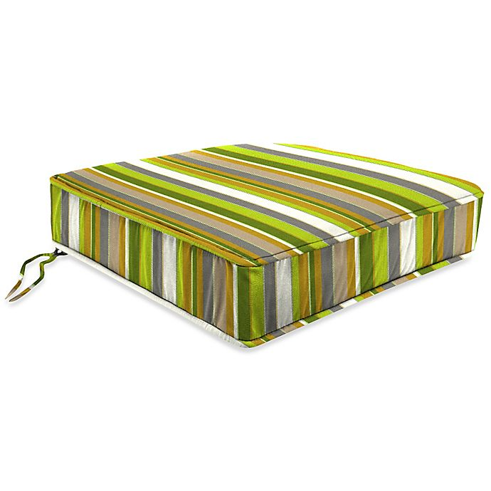 Alternate image 1 for Stripe Outdoor 20-Inch Chair Cushion in Sunbrella® Carousel Limelight