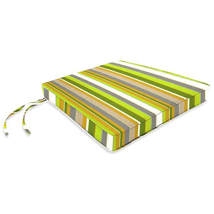 Alternate image 1 for Stripe 17-Inch x 18.5-Inch Chair Cushion in Sunbrella® Carousel Limelight