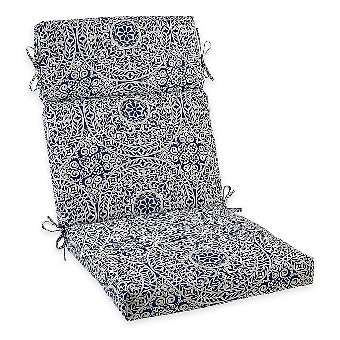 Alternate image 1 for Outdoor High Back Chair Cushion in Indigo Medallion