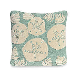 Liora Manne Frontporch Shell Toss Square Throw Pillow in Aqua