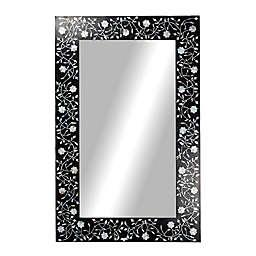 Ridge Road Décor Rectangular Black Wood Wall Mirror with Opalescent Shells