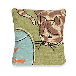 Liora Manne Frontporch Curious Cat Square Throw Pillow