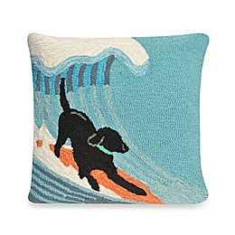 Liora Manne Frontporch Surfing Dog Square Throw Pillow in Ocean