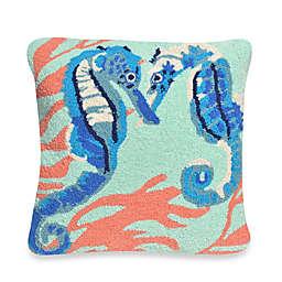Liora Manne Frontporch Seahorses Square Throw Pillow in Aqua