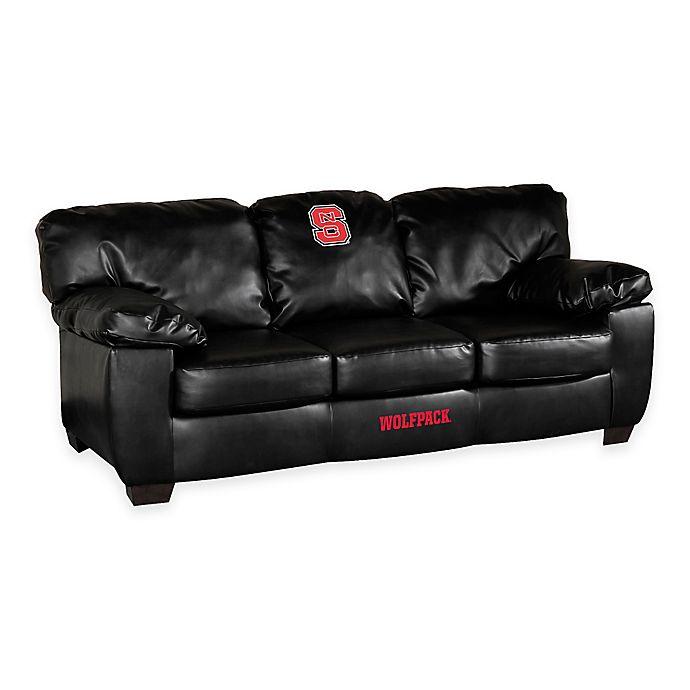 Alternate image 1 for North Carolina State University Black Leather Classic Sofa