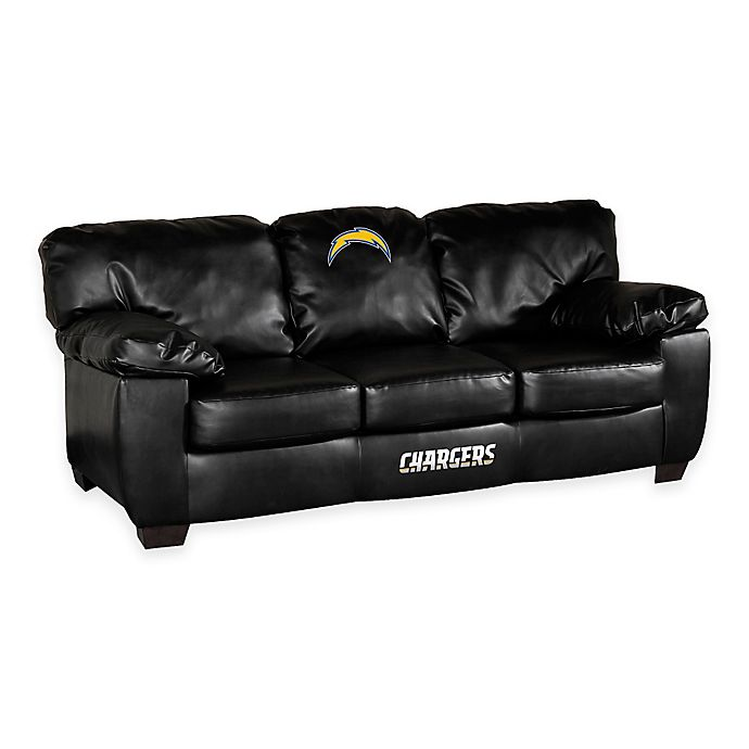 NFL Los Angeles Chargers Black Bonded Leather Classic Sofa ...