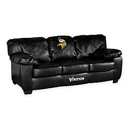 NFL Minnesota Vikings Black Leather Classic Sofa