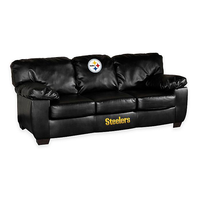 Sleeper Sofa Dallas: NFL Pittsburgh Steelers Black Bonded Leather Classic Sofa