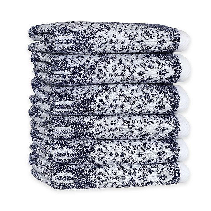 Alternate image 1 for Linum Home Textiles Gioia Turkish Cotton Washcloths (Set of 6)