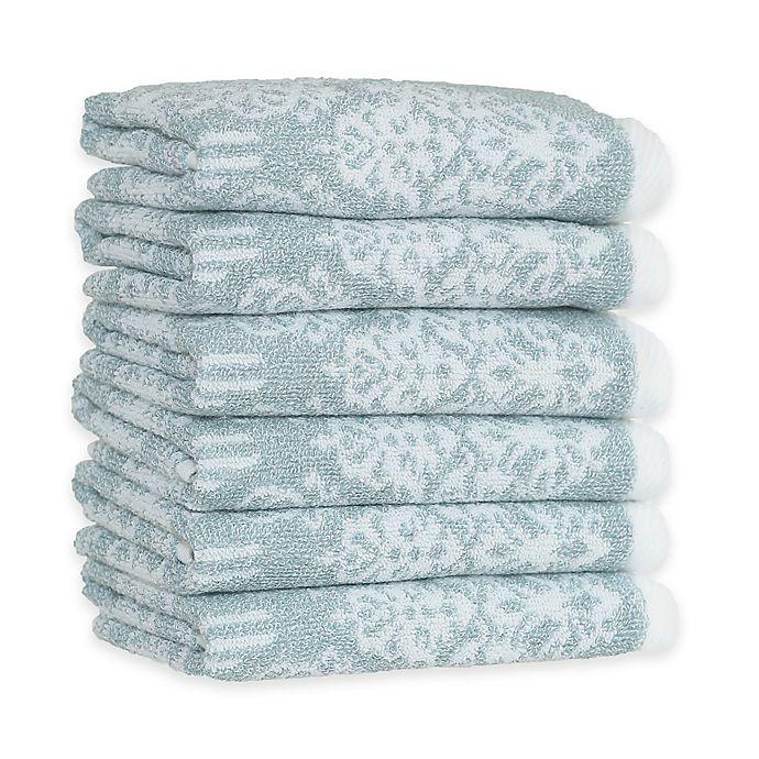 Alternate image 1 for Linum Home Textiles Gioia Turkish Cotton Washcloths in Soft Aqua (Set of 6)