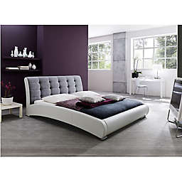 Baxton Studio Guerin Upholstered Queen Platform Bed in Grey