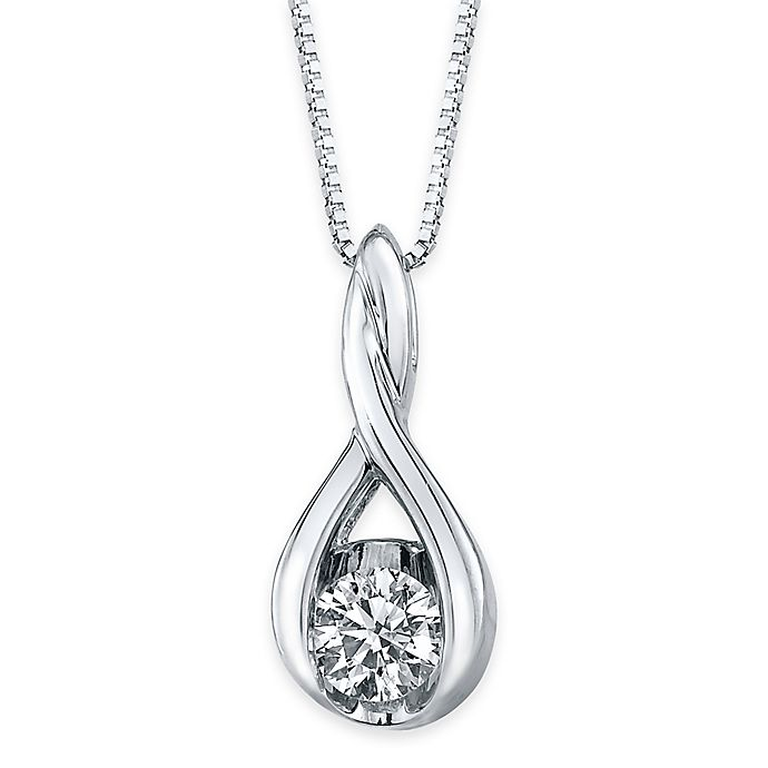 Alternate image 1 for Sirena® Collection 14K White Gold 1/5 cttw Diamond Twisted Teardrop 18-Inch Pendant Necklace