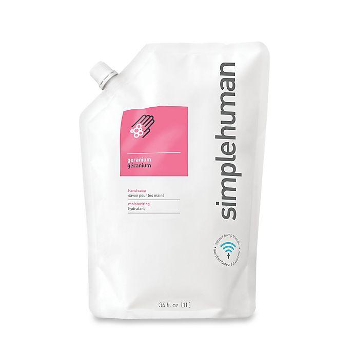 Alternate image 1 for simplehuman® Moisturizing Liquid Hand Soap 34 oz. Refill Pouch in Geranium