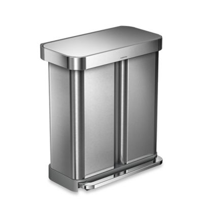 Simplehuman® Dual Compartment Rectangular 58 Liter Step Trash Can by Bed Bath And Beyond